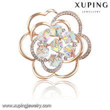 00030 Fashion Elegant Flower Crystals From Swarovski Jewelry Brooch in Gold-Plated